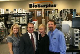 "From the left, Kathy Scott, CFO; Preston ""Cinco"" Plumb, CEO; Jackie Townsend, CMO; and Fred Hill, VP of Auction Services of BioSurplus Inc."
