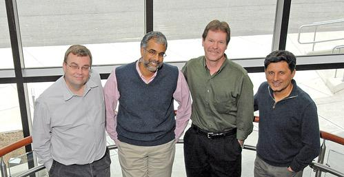 Avila Therapeutics' band of doctorate brothers include, from left, Russell Petter, Nagesh Mahanthappa, William Westlin and co-founder and CSO Juswinder Singh.