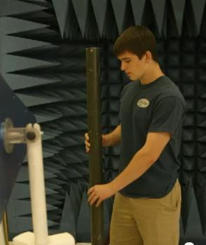 A still from the video posted by Fractal Antenna Systems Inc. showing a pipe which appears to be