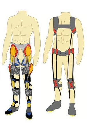 The proposed suit would be made of soft, wearable assistive devices such as stretchable sensors that monitor the body's biomechanics (illustration courtesy of the Wyss Institute).