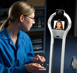 VGo's telepresence robotics product, pictured here, is used in hospitals, nursing facilities, labs and in the home.