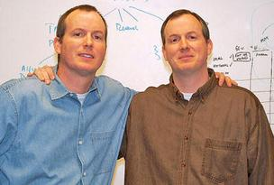 Darr Aley, left, and his twin brother Tom, founded Generate Inc., a corporate networking site that aims to aggregate all information about a business person on the web to one location.