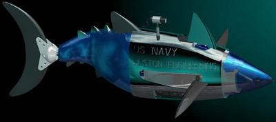 Boston Engineering and the Olin College of Engineering have teamed up to create a robotic tuna for the Navy, shown here in a computer-aided design model image.