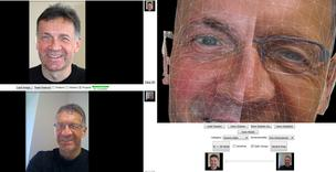 ForensicaGPS, shown here, is Animetrics' enhances visualization with 3-D viewing using a facial split window feature at any pose.