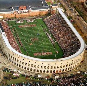Harvard Stadium aerial view on game day