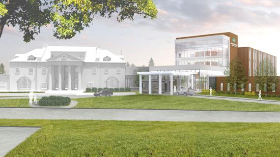 A rendering of a new cancer center in Pittsfield, Mass., planned by Berkshire Health Systems and Berkshire Hematology/Oncology on the campus of Berkshire Medical Center.