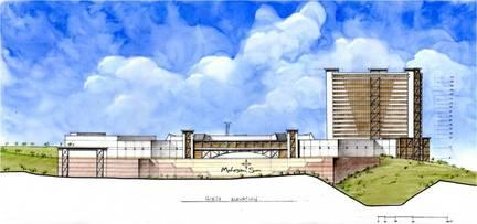 An architect's rendering of a proposed Mohegan Sun casino in the Western Massachusetts town of Palmer. The casino operator has not yet submitted the $400,000 application fee for a license.