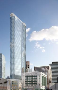 An architect's rendering of the tower planned by Millennium Partners on the stalled Filene's site downtown. The developer plans a small public amphitheater, next to the tower.