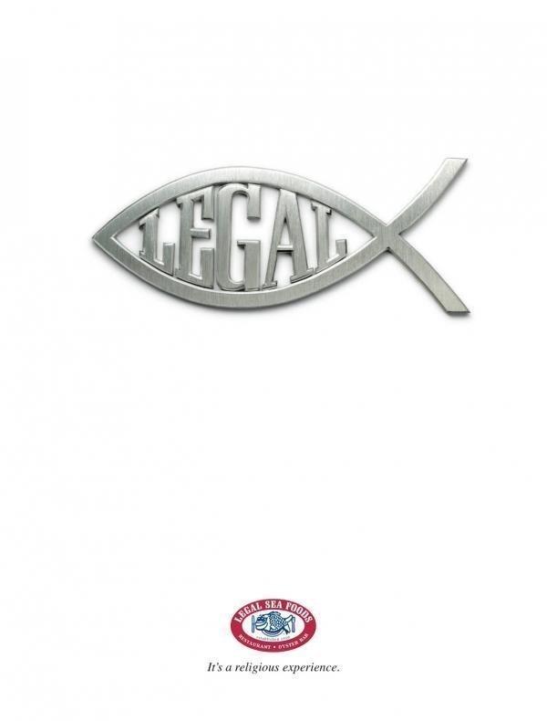 Legal Sea Foods' new 'Jesus fish' print ad.
