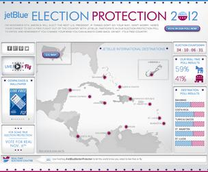 JetBlue 'election protection' screen grab