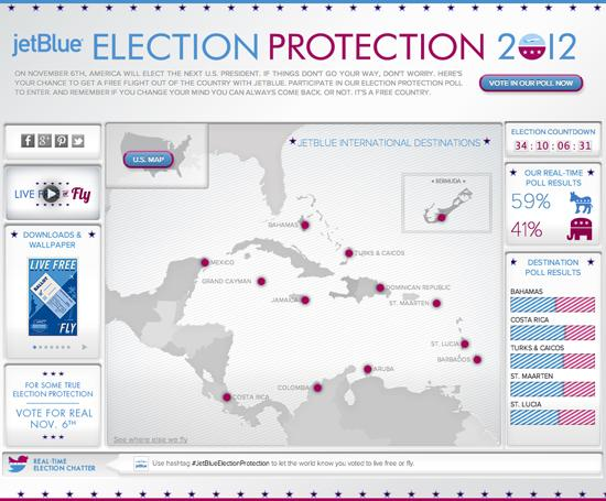 "JetBlue's ""election protection"" promotion has 1,006 free round-trip tickets so disappointed entrants whose candidates lose the 2012 election can make good on pledges to leave the country."