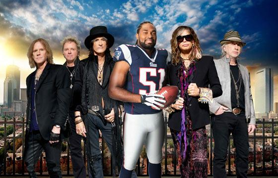 """Aerosmith (pictured here with Patriots linebacker Jerod Mayo) has worked up an """"anthem"""" for the New England Patriots as part of a Pepsi promotion."""