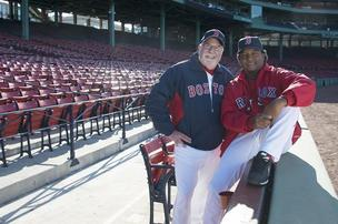 Pedro Martinez and Eliot Tatelman at Fenway Park to film Jordan's ad