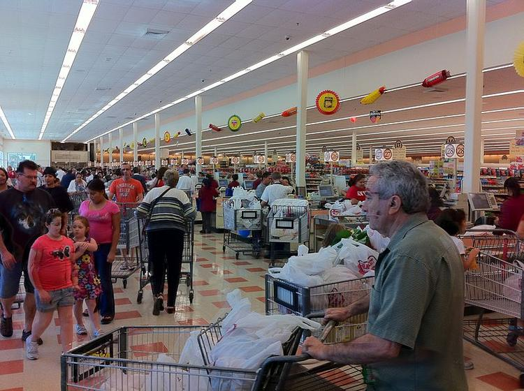 The interior of a Market Basket in Chelsea, Mass. The Tewksbury-based company is scheduled to hold a board vote for control of its operations, today.