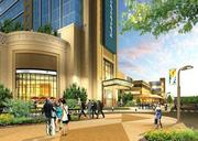 This new rendering by Penn National Gaming shows the plaza entrance for the company's proposed $807 million casino and hotel complex for Springfield. The project would be built on 13.4 acres spanning sections of Metro Center and the North End.