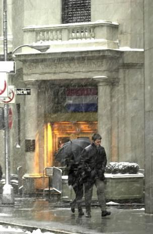 Snow on Wall Street outside the NYSE, 2001