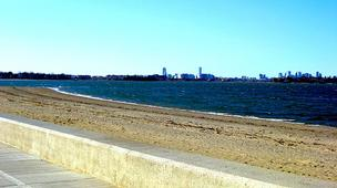 Wollaston Beach, view of Boston from Quincy
