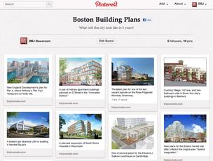 A screen grab of the BBJ's pinboard, showing architects' renderings for planned buildings throughout Boston. After a careful read of the fine print, it has been taken down.