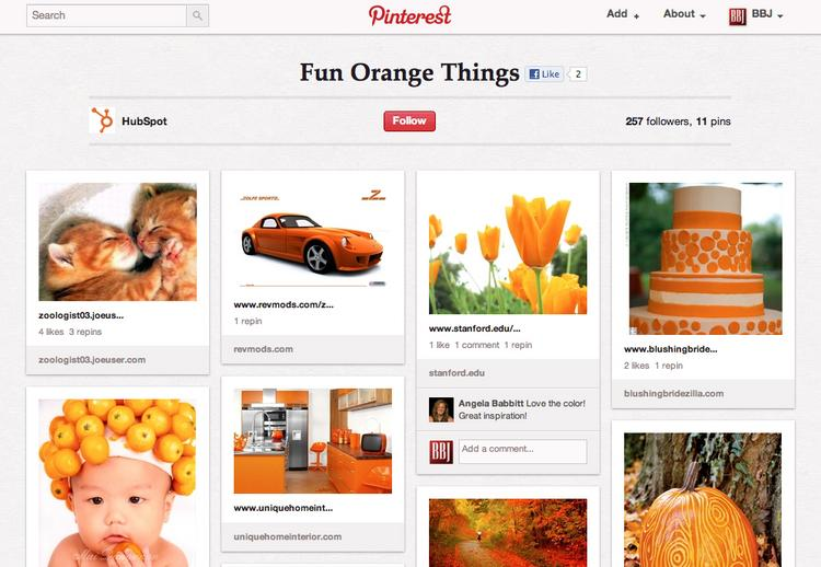 "HubSpot's ""Fun Orange Things"" Pinboard. """"It's half the goal to showcase our own work, but really just collect others as well,"" said HubSpot's Rebecca Corliss. ""Our board could be the best resource for marketing infographics. it's all about having the best board, not just promoting your own stuff."""