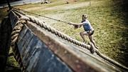 A rope climb at a Spartan Race event.
