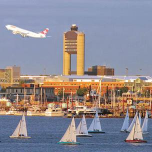 Photo of Boston's Logan International Airport control tower.