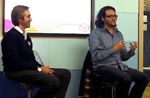 Venture capitalist and TechStars co-founder Brad Feld, right, took questions at Highland Capital Partners Thursday from Bessemer VC Stephen Kraus.