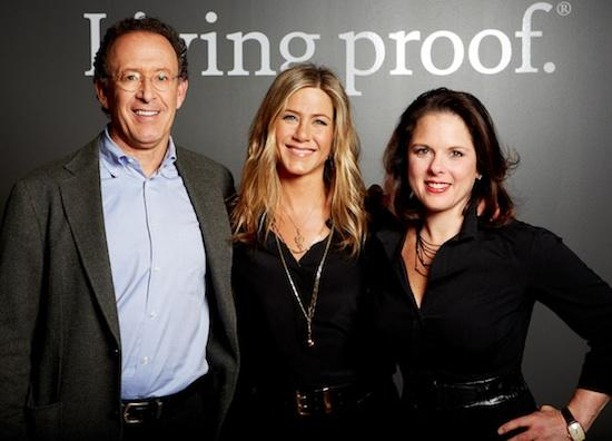 Actress Jennifer Aniston is now a spokesperson and co-owner at Cambridge-based Living Proof. She is pictured withLiving Proof co-founder and chairman Jon Flint of Polaris Venture Partners and CEO Jill Beraud.