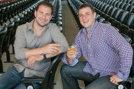 The founders of Richer Pour — David Gordon, left, and Eric Ritvo at the Bank of America Pavilion. The venue is now serving wine distributed by Richer Pour.