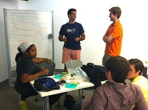 "Students at the Boston Startup School teamed up Wednesday to meet ""challenges"" that aim to train them for future employment at local startups."