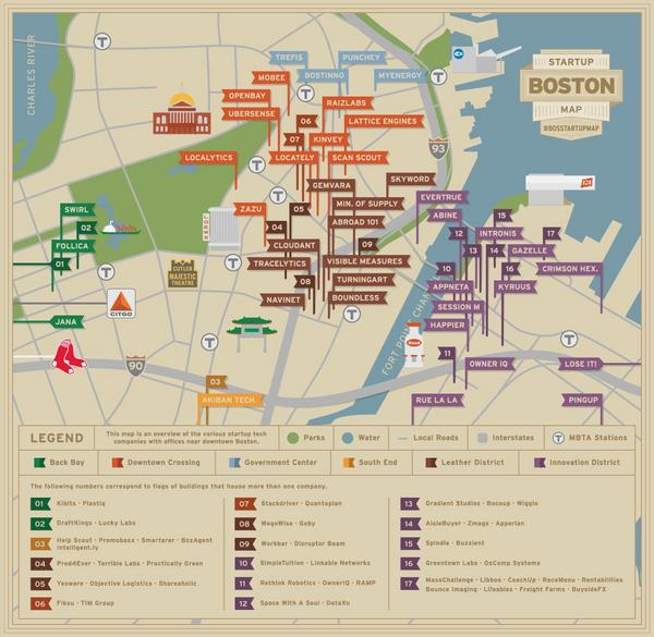 This map, created by Boston startup Kinvey, shows the location of nearly 100 startups in neighborhoods of Boston proper.