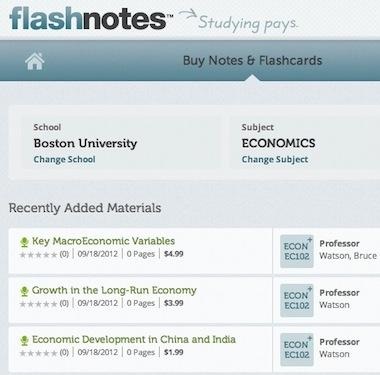 FlashNotes, an online marketplace for college students to sell notes and flash cards, has raised $1.8 million.