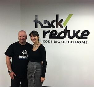 Cambridge 'big data' center hack/reduce. Pictured: Chris Lynch, board member of hack/reduce and partner at Atlas Venture, and Dena Enos, CMO of Hopper, which is located on the second floor of the building.