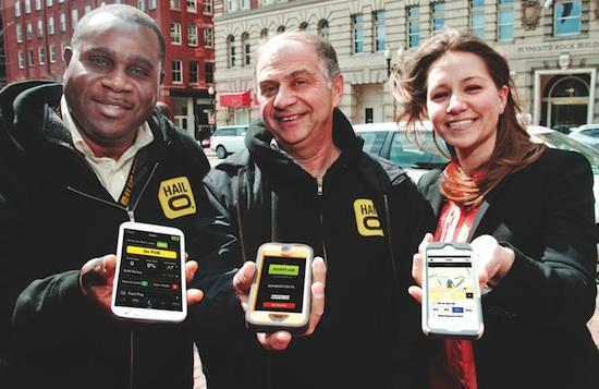 Hailo is expanding its taxi-hailing app to Cambridge. From  left,Andre-Michel Colas and Alex Beker (former Boston cab drivers now  working as driver partners for Hailo) and Vanessa Kafka,general manager  for Hailo in Boston.