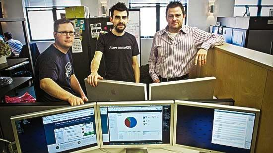 """Help Scout, which offers email collaboration services, took part in the TechStars Boston program last year but moved into the BzzAgent office in September. Help Scout co-founder and CEO Nick Francis said the startup is """"surrounded by a vibrant, creative community in the South End."""" (Pictured from left is Sean Laurence, Francis and Denny Swindle.)"""