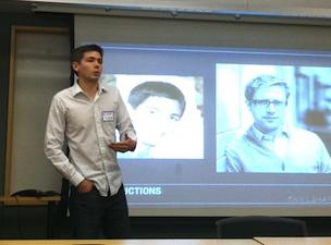 Jeff Seibert of Crashlytics shared tips on how to break into the Boston tech scene at the Cambridge Innovation Center Thursday night. (The projected photos are of Seibert and Andrew Rosenthal of Massive Health, who co-taught the course.)