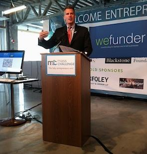 U.S. Sen. Scott Brown spoke Monday morning about crowdfunding legislation efforts in Congress, during an event at the offices of MassChallenge organized by local startup Wefunder.