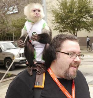 Boston startup Wanderu, which won the Innovative Web prize at the SXSW accelerator, had a capuchin monkey on hand to take photos with attendees of the Austin conference.