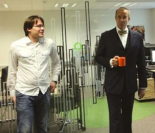 At ZeroTurnaround's Estonia office, JRebel inventor Jevgeni Kabanov (left) recently met with President Toomas Hendrik Ilves of the Republic of Estonia.