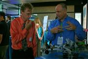 Eric Prechtl (pictured in blue), a founder of AET, an electronics firm in Devens, is predicting the camera could change the way we see the world.