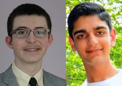 Boston Latin School 10th grader Adrian Haber of Boston, left, and Northborough resident Rahi Punjabi of Advanced Math and Science Academy Charter School in Marlborough, will represent Massachusetts in the U.S. National BioGENEius Challenge on April 20.