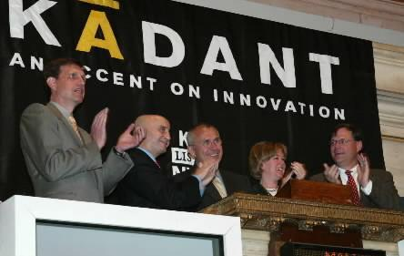 The New York Stock Exchange welcomes Kadant Inc. (NYSE: KAI) to celebrate its listing on the NYSE at the opening bell on May 14, 2003. From left is Thomas M. O'Brien, executive vice president, CFO and treasurer; Richard A. Grasso, chairman and CEO, NYSE; William A. Rainville, chairman and CEO; Karen A. Kirkwood, principal, GreatPoint Communications; and Jonathan W. Painter.