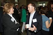 Trish Bromme of Hollister Staffing and Sean McCourt of Longford & Company network during the social hour at the Mass High Tech & Boston Business Journal's 2013 CIO of the Year awards breakfast.