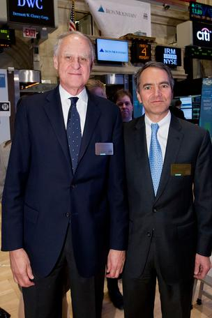 Richard Reese, Iron Mountain chairman of the board and William Meaney, the company's newly appointed CEO, prepare to ring the closing bell at the NYSE.