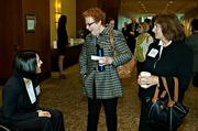 Heather DiBetrantonio of Wolf Greenfield, Sarah Cardozo Duncan of Career Strategist/Science Club for Girls and Laurie Kirk of The Board Forum enjoying conversation during the morning coffee hour at the Mass High Tech Women To Watch awards breakfast.