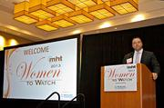 Chris McIntosh, publisher of Mass High Tech welcomes those attending the 2013 Mass High Tech Women To Watch awards breakfast at the Weston Waterfront Hotel.