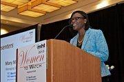 Donna Levin of Care.com, an event partner,  was a co-award presenter at the Mass High Tech Women To Watch awards breakfast.