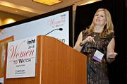 The first to receive her Woman To Watch award at the Mass High Tech Women To Watch awards breakfast was Rebecca Smith Allen, CEO and co-founder of Infrared5.