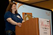 Holly Yanco, professor at UMass Lowell encouraged those attending to push for more and better computer training in Massachusetts schools while accepting her award at the 2013 Mass High Tech Women To Watch awards breakfast.