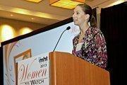 Polina Raygorodskaya, CEO of Wanderu accepts her award at the 2013 Mass High Tech Women To Watch awards breakfast.