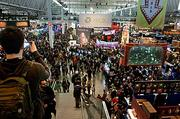 The view as you entered the exhibition area of the PAX East 2013 gaming show at the Boston Convention & Exhibition Center.